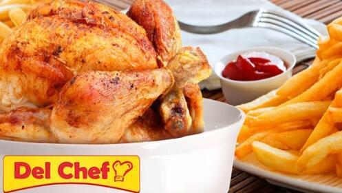 2 pollos asados + 2 patatas grandes + 1 plato comida + bebida, pan y salsa