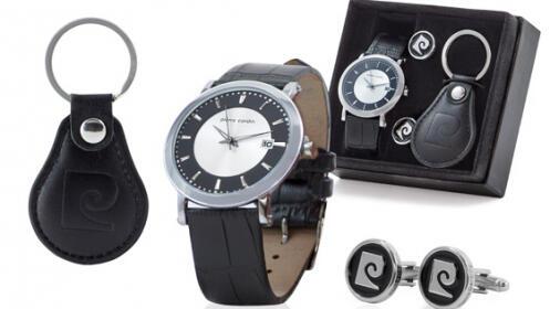 Conjunto de reloj+gemelos+llavero pierre cardin