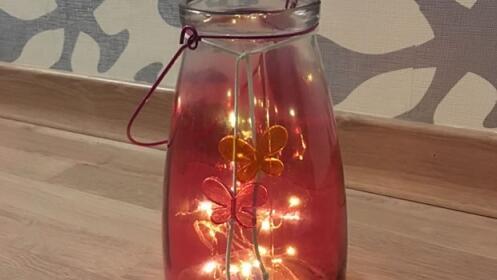 Jarrón de vidrio retro con luz led (varios colores)