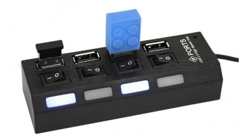 Ladrón Multipuerto 4 en 1 USB con Interruptor LED