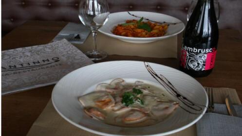 Menú italiano gourmet : entrante + 2 principales + postres + botella de vino